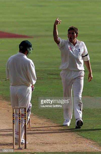 Chris Silverwood of England celebrates the wicket of Petre Strydom of South Africa during the Fifth Test match between South Africa and England at...