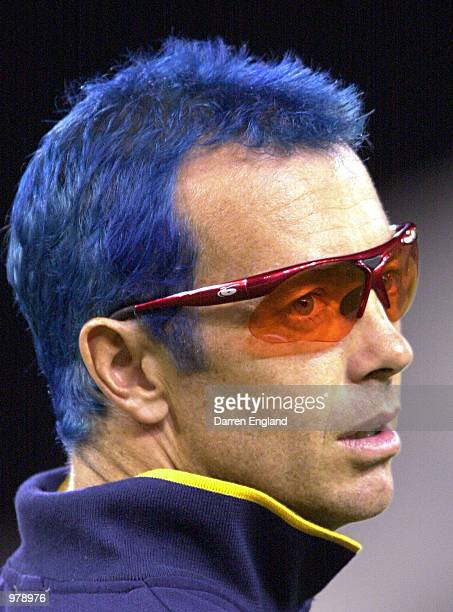 Colin Miller of Victoria shows off his blue hair to the crowd during the Mercantile Mutual Cup cricket match between Queensland and Victoria played...