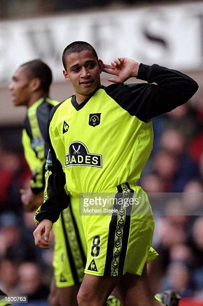 Curtis Woodhouse of Sheffield United celebrates during the FA Cup 4th Round match against Newcastle played at St James's Park in Newcastle England...