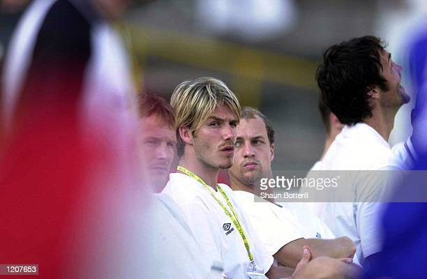 David Beckham of Manchester United watches the game from the sidelines during the Vasco da Gama v Manchester United World Club Championship Group B...