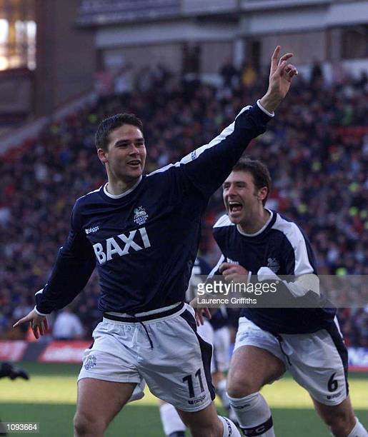 David Healy of Preston celebrates scoring during the Nationwide Division One game between Sheffield United and Preston North End at Brammall Lane...