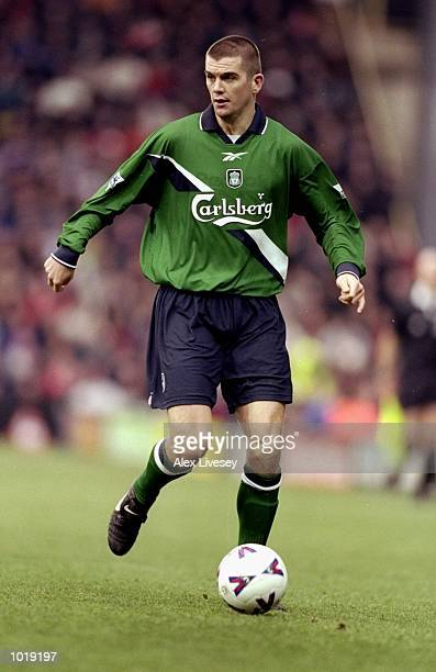 Dominic Matteo of Liverpool on the ball against Watford during the FA Carling Premiership match at Vicarage Road in Watford England Liverpool won 32...