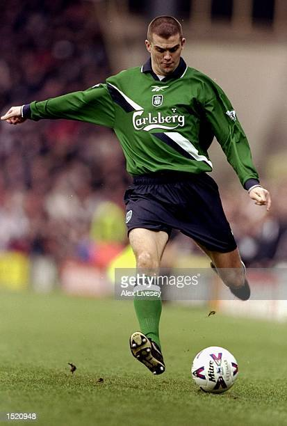 Dominic Matteo of Liverpool on the ball against Watford during the FA Carling Premiership match at Vicarage Road in Watford, England. Liverpool won...