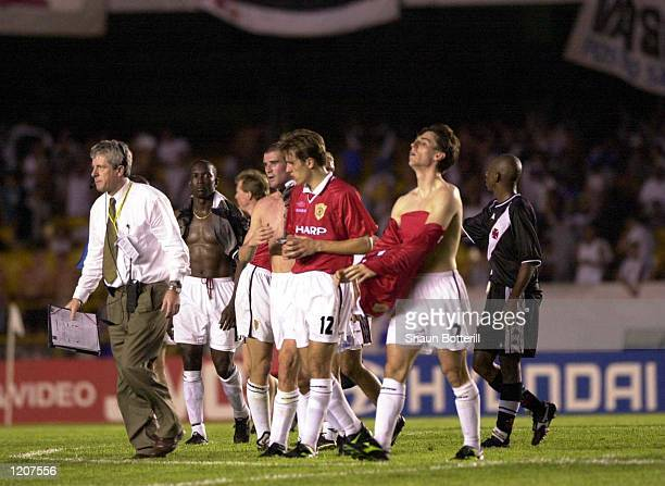 Gary Neville of Manchester United after the Vasco da Gama v Manchester United World Club Championship Group B match at the Maracana Stadium Rio de...
