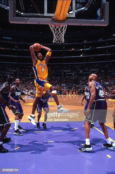 Guard Kobe Bryant of the Los Angeles Lakers goes up for the slam dunk during the Lakers 11789 victory over the Milwaukee Bucks at the Staples Center...