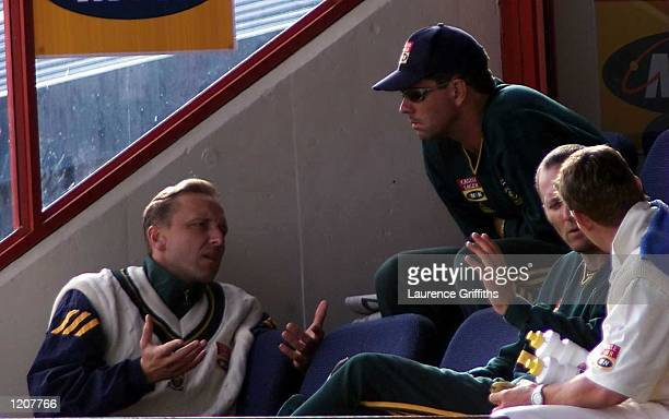 Hanse Cronje of South Africa talks with Allan Donald during the Fifth Test match between South Africa and England at Centurion Park, South Africa....