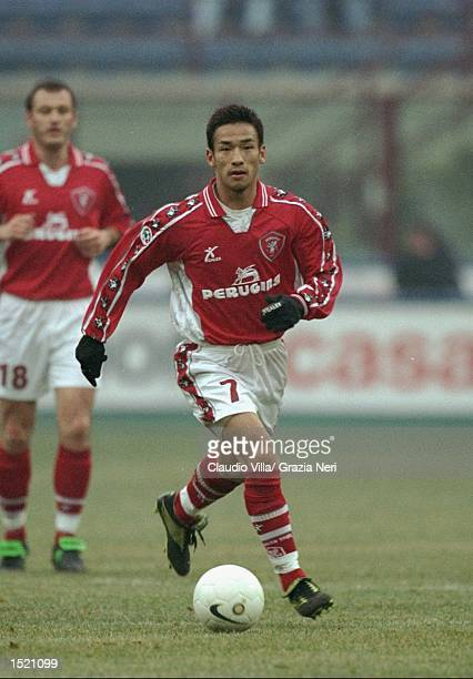 Hidetoshi Nakata of Perugia in action during the Serie A match against Inter Milan played at the San Siro in Milan, Italy. Inter won the game 5-0. \...