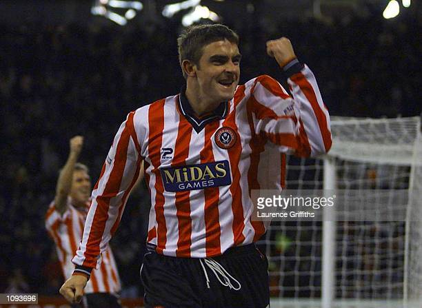 James Thomas of Sheff Utd celebrates the winning goal during the Nationwide Division One game between Sheffield United and Preston North End at...