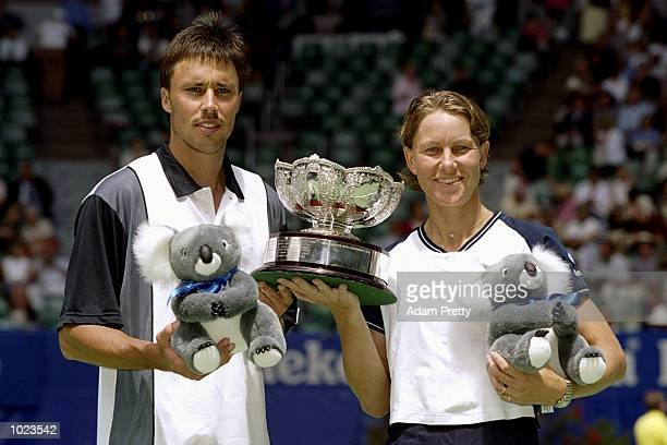 Jarred Palmer of the USA and Rennae Stubbs of Australia celebrate winning the Australian Open Doubles played at Melbourne Park in Melbourne Australia...