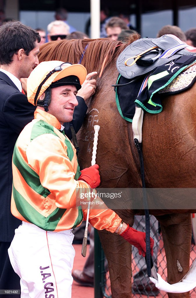 Jim Cassidy jockey on Oliver Twist after victory in the Chester Manifold Stakes, race 5, at Flemington Racecourse, Melbourne, Australia Mandatory Credit: Hamish Blair/ALLSPORT
