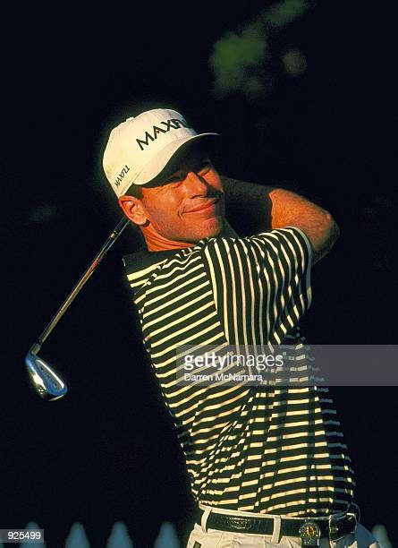 John Huston from the USA hits from the 2 nd tee during a practice round prior to the start of the 2001 Accenture Match Play Championship which is...