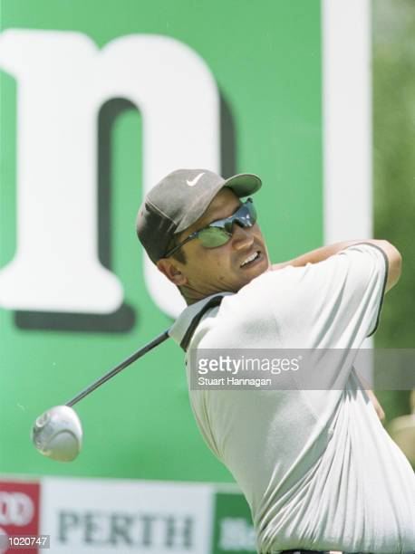 Michael Campbell of New Zealand in action during his first round of 68 during the Heineken Classic 2000 golf played at The Vines Golf Course, Perth,...