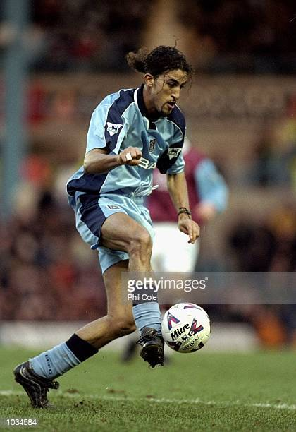 Moustapha Hadji of Coventry City in action during the AXA FA Cup fourth round match against Burnley at Highfield Road in Coventry England Coventry...