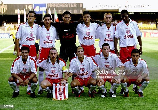 Necaxa line up for the FIFA Club World Championship group B match against Manchester United at the Maracana Stadium in Rio de Janeiro Brazil The game...