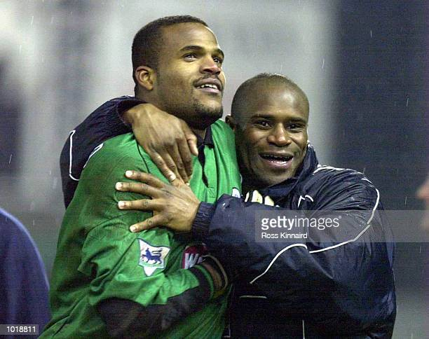Pegguy Arphexad and Frank Sinclair of Leicester celebrate after the penalty shoot out during the match between Leicester City and Fulham in the...