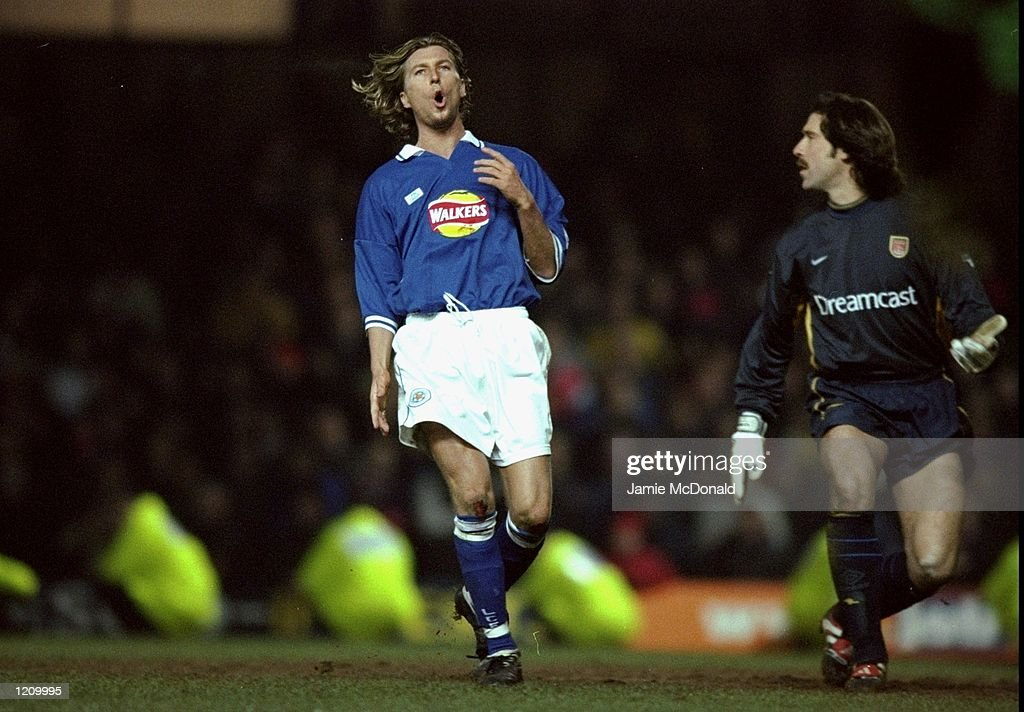 Robbie Savage of Leicester scores during the FA Cup 4th Round Replay against Arsenal played at Filbert Street in Leicester, England. The game ended without score. \ Mandatory Credit: Jamie McDonald /Allsport