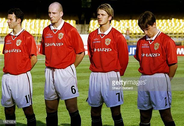 Ryan Giggs Jaap Stam David Beckham and Gary Neville of Manchester United line up to face Necaxa in the FIFA Club World Championship group B match at...