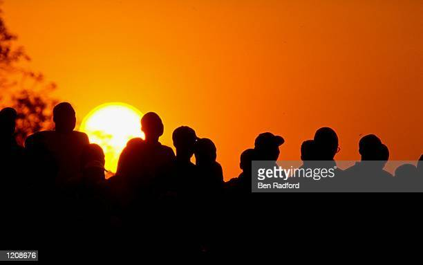 Silhouette of Ghana fans during their teams match against Togo in the African Nations Cup 2000 The game was played in Accra Ghana The final score was...