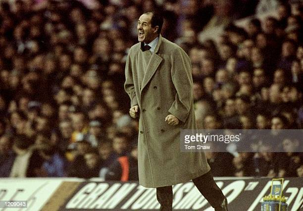Spurs manager George Graham shouts at his team during the FA Carling Premier League match against Sheffield Wednesday played at White Hart Lane in...
