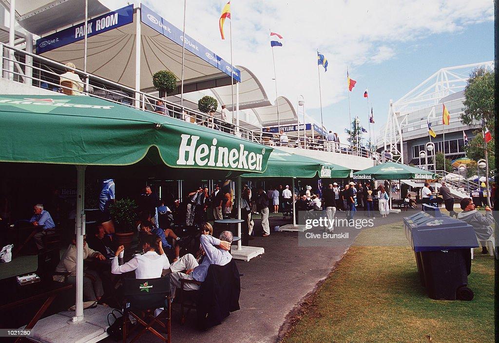 Tennis fans enjoy the surroundings at a Heineken bar at the Australian Open Tennis Championships, played at Melbourne Park in Melbourne, Australia. Mandatory Credit: Clive Brunskill/ALLSPORT