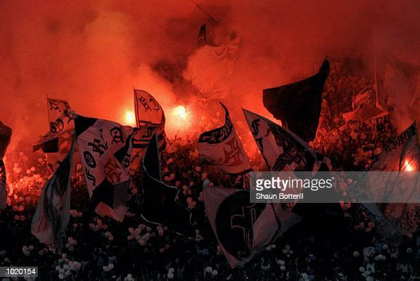The Corinthians fans watch the action during the Final of the World Club Championship against Vasco de Gama played at the Maracana Stadium in Rio de...