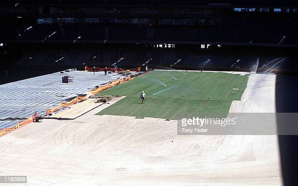 The first sod of grass is layed in Colonial Stadium at the Docklands in Melbourne Australia Mandatory Credit Tony Feder/ALLSPORT