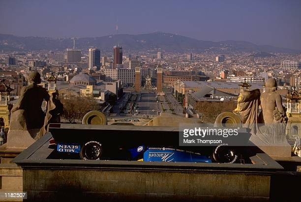 The new Benetton Playlife B200 is unveiled at the Museu Nacional d''Art de Catalunya in Barcelona Spain Mandatory Credit Mark Thompson /Allsport