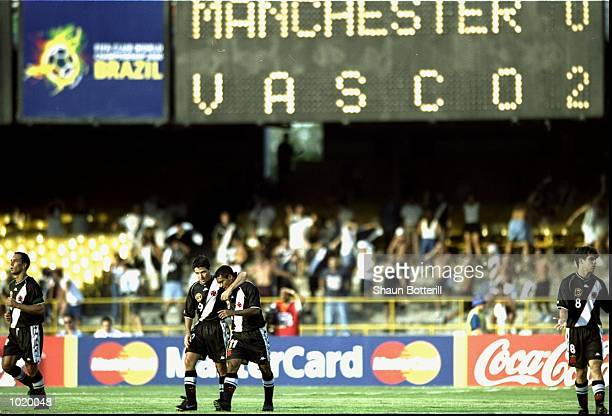The Vasco de Gama players celebrate Romario's 26th minute goal during the World Club Championship match against Manchester United played at the...