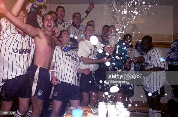 26 Jan 2000 Tranmere Rovers celebrate after the Tranmere Rovers v Bolton Wanderers Worthington Cup semifinal second leg at Prenton Park Tranmere...