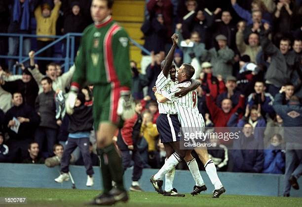 Wayne Allison and David Kelly of Tranmere celebrate during the FA Cup 4th Round match against Sunderland played at Prenton Park in Liverpool England...