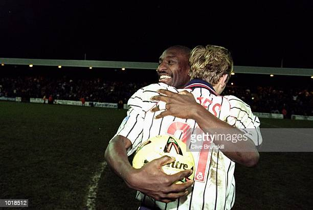 Wayne Allison and Steve Yates of Tarnmere celebrate after the FA Cup 4th Round match against Sunderland played at Prenton Park in Liverpool England...