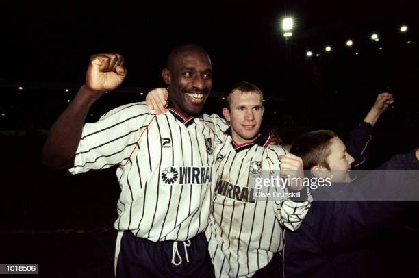 Wayne Allison of Tarnmere celebrates after the FA Cup 4th Round match against Sunderland played at Prenton Park in Liverpool England Tranmere won the...