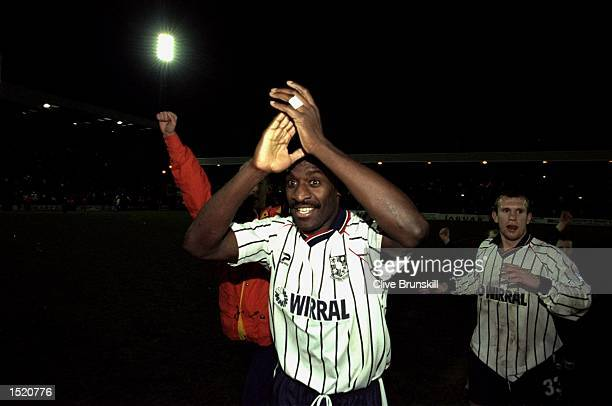 Wayne Allison of Tranmere celebrates after the FA Cup 4th Round match against Sunderland played at Prenton Park in Liverpool England Tranmere won the...