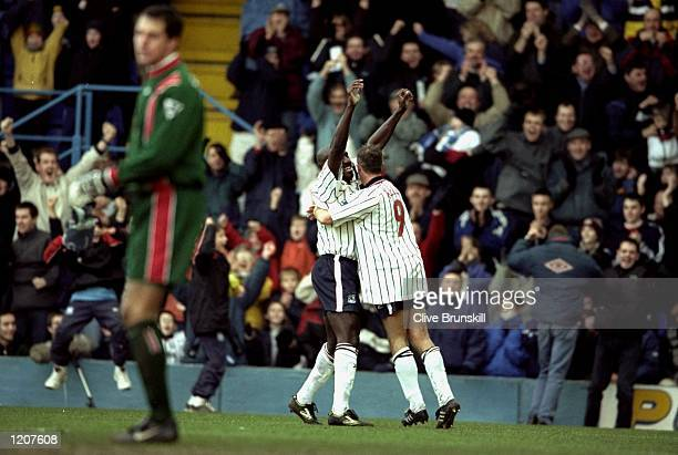 Wayne Allison of Tranmere celebrates during the FA Cup 4th Round match against Sunderland played at Prenton Park in Liverpool England Tranmere won...