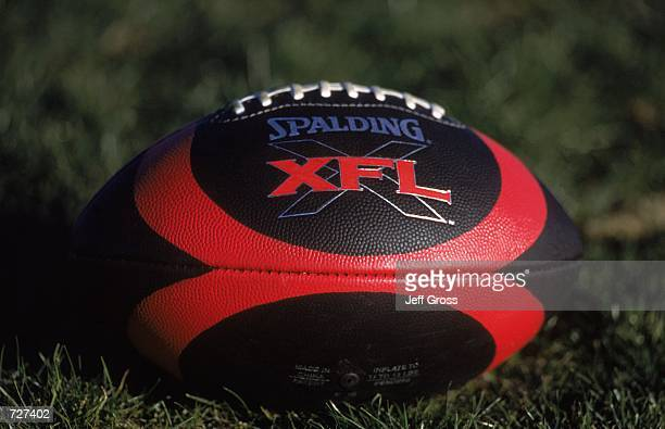 A general view of the official XFL Football during the Los Angeles Extreme Training Camp at the Sam Boyd Stadium in Henderson NevadaMandatory Credit...