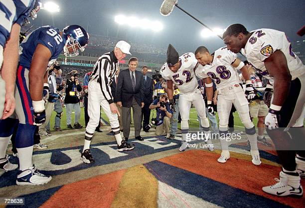 A view of the coin toss taken before Super Bowl XXXV between the New York Giants and the Baltimore Ravens at the Raymond James Stadium in Tampa...
