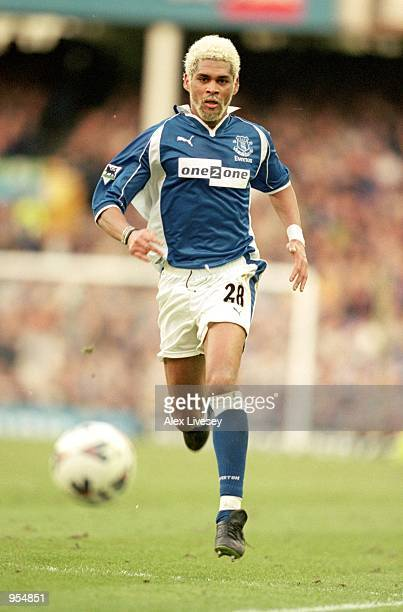 Abel Xavier of Everton on the ball during the FA Cup Fourth Round match against Tranmere Rovers at Goodison Park in Liverpool England Tranmere won 30...