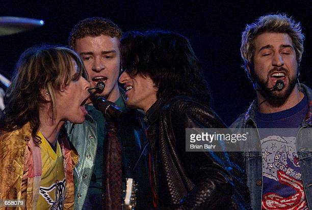 Aerosmith and the Backstreet Boys perform together during the halftime show for Super Bowl XXXV at Raymond James Stadium in Tampa Florida DIGITAL...