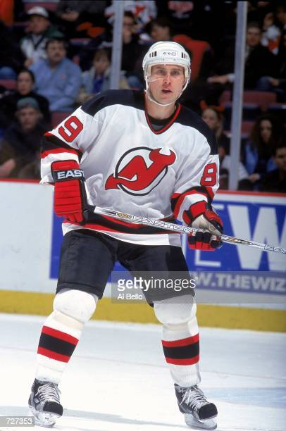 Alexander Mogilny of the New Jersey Devils waits on the ice during the game against the Philadelphia Flyers at the Continental Airlines Arena in East...