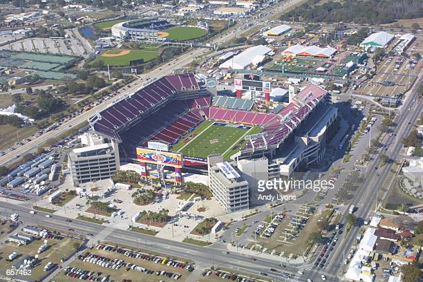 An aerial view from the Monstercom blimp shows Raymond James Stadium the site of Super Bowl XXXV in Tampa Florida DIGITAL IMAGEMandatory Credit Andy...