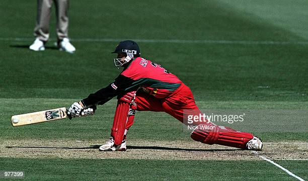 Andrew Flower of Zimbabwe reverse sweeps during his innings of 33 against the West Indies during the Carlton Series limited over game between...