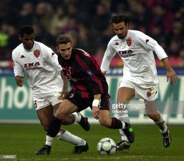 Andriy Shevchenko of AC Milan and Cristiano Zanetti of Roma in action during the Serie A 15th Round League match between AC Milan and Roma played at...
