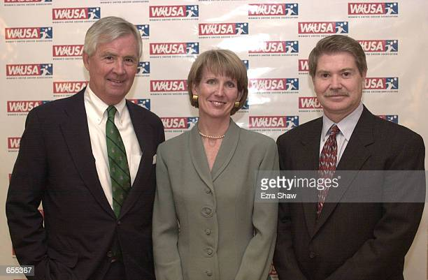 Barbara Allen the new CEO of the Women's United Soccer Association appears at a press conference with Amos Hostetter member of the WUSA board and...