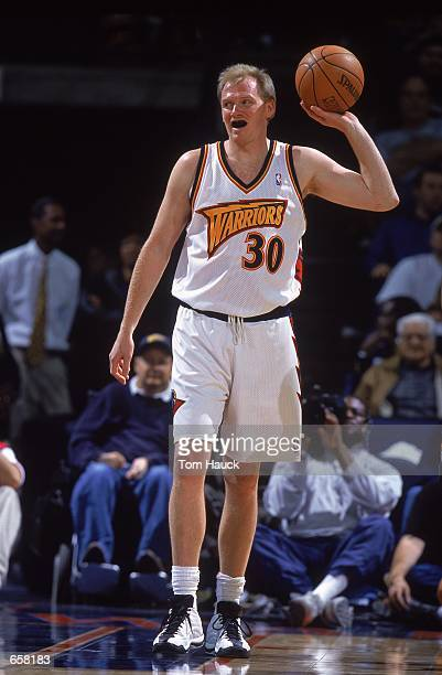 Bill Curley of the Golden State Warriors with the ball during the game against the Cleveland Cavaliers at the Arena in Oakland in Oakland California...