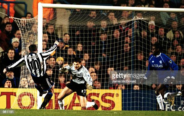 Christian Bassedas of Newcastle scores the first goal during the FA Carling Premiership match between Chelsea v Newcastle United at Stamford Bridge...