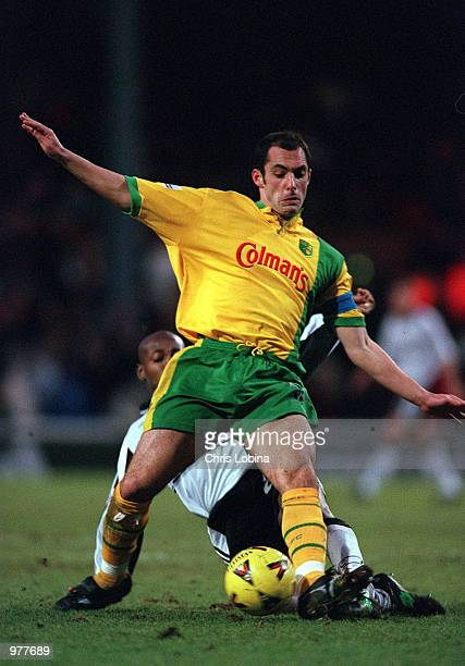 Craig Fleming of Norwich tackles Luis Boa Morte of Fulham during the Fulham v Norwich City Nationwide First Division match played at Craven Cottage...