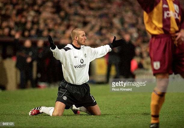 David Beckham of Manchester United appeals for a freekick during the FA Carling Premiership match against Bradford City played at Valley Parade in...