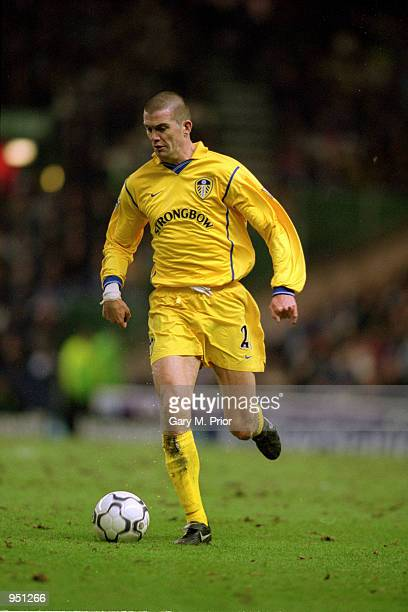 Dominic Matteo of Leeds United runs with the ball during the FA Carling Premiership match against Manchester City played at Maine Road, in...