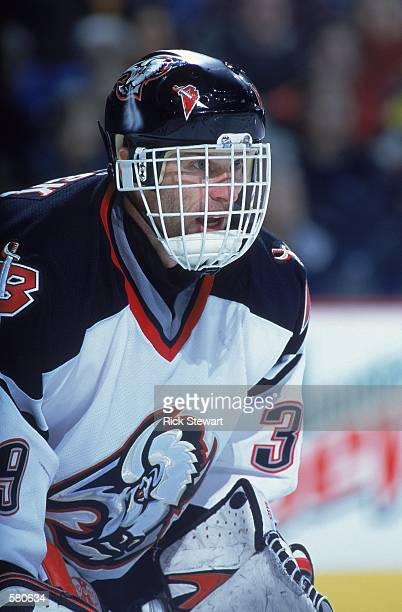 Dominik Hasek of the Buffalo Sabres looks on during the game against the Tampa Bay Lightning at the HSBC Arena in Buffalo, New York. The Sabres...