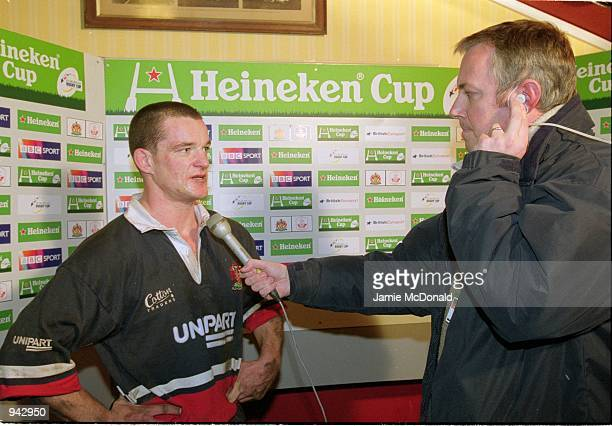 Elton Moncrieff of Gloucester talks to the media about his drop goal which won the match after the Heineken Cup Pool 5 match against Llanelli played...
